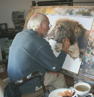 Alan M Hunt Painting at his Easel
