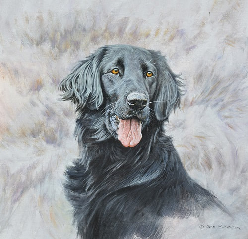 Flat Coated Retriever Painting