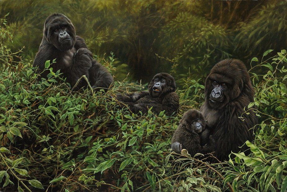Limited Edition Wildlife Print of a Gorilla Family